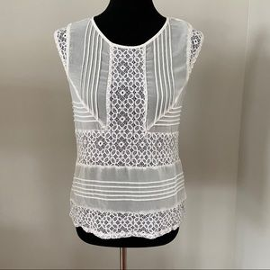 The Limited Sleeveless white Lace top